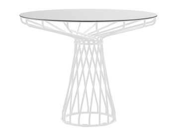 Velletri White 92cm HPL Laminate Indoor Outdoor Dining Table by Glid Studio for Huset image