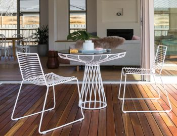 Velletri White 76cm Smoke Glass Indoor Outdoor Cafe Table by Glid Studio for Huset image