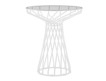 Velletri White 62cm Smoke Glass Indoor Outdoor Cafe Table by Glid Studio for Huset image