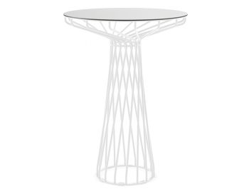 Velletri White 76cm HPL Laminate Indoor Outdoor High Bar Table by Glid Studio for Huset image