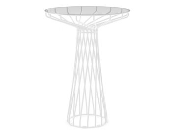 Velletri White 76cm Glass Indoor Outdoor High Bar Table by Glid Studio for Huset image
