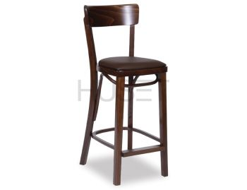 Walnut Francois Bentwood Bar Stool w Seat Pad by Micheal Thonet image