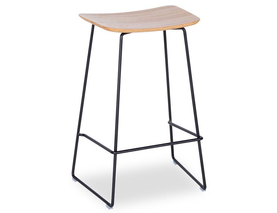 Winnie Black Modern Stool With Solid European Oak Seat