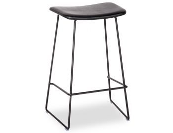 Winnie Matte Black Stool With Italian Black Leather Seat by Glid Studio image