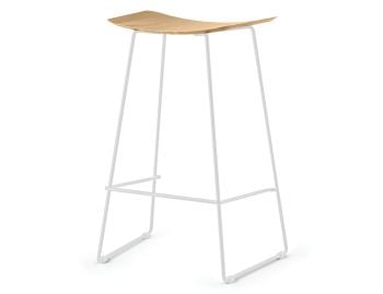 Winnie Matte White Stool With Solid European Oak Seat by Glid Studio image