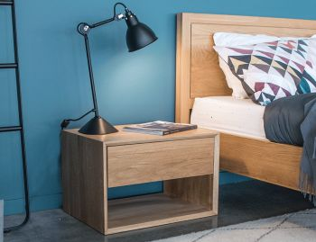 Copenhagen Solid European Oak Wide Bedside Table w Draw by Bent Design image