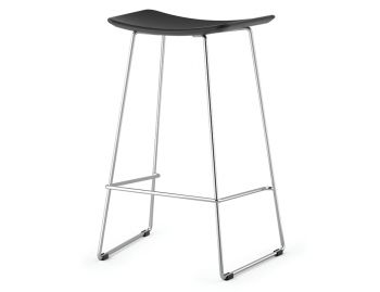 Winnie Chrome Stool With Black Italian Leather Seat by Glid Studio image