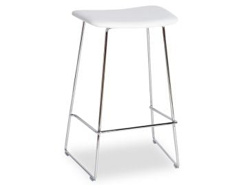 Winnie Chrome Stool With White Italian Leather Seat by Glid Studio image
