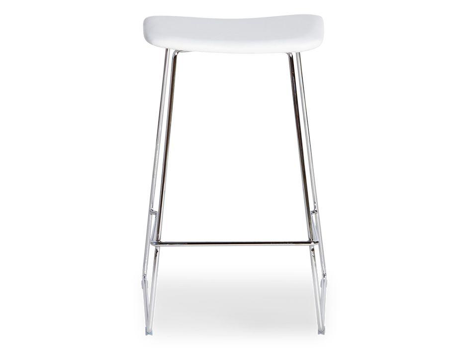White Leather Upholstered Modern Bar Stool