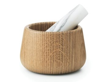 Oak & White Marble Craft Mortar & Pestle by Simon Legald for Normann Copenhagen image