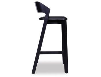 Merano Black Stained Beechwood Bar Stool with Black Pad by Alex Gufler for TON image