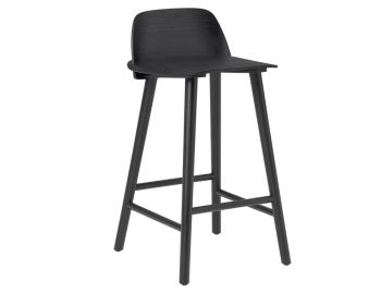 Black 65cm Nerd Bar Stool by David Geckeler for Muuto image