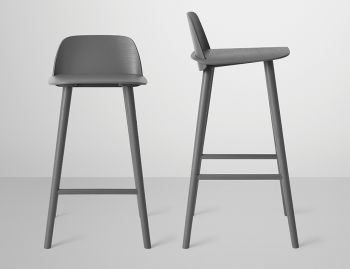 Nerd Bar Stool Dark Grey by David Geckeler for Muuto image