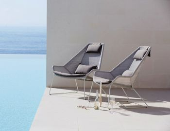 Light Grey Breeze Outdoor Highback Chair by Strand & hvass For Cane-line  image