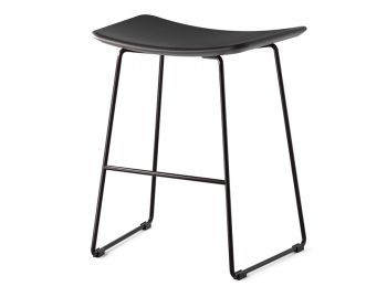 Winnie Low Stool Matte Black with Black Leather Seat by Glid Studio image
