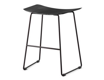 Winnie Low Stool Matte Black with Black Stained Solid Oak Seat by Glid Studio image