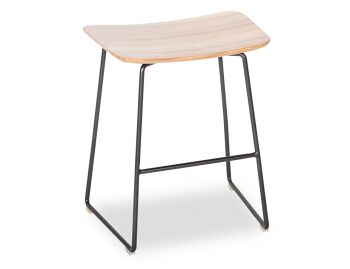 Winnie Low Stool Matte Black with Solid European Oak Seat by Glid Studio image