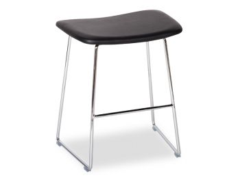 Winnie Low Stool Chrome with Black Italian Leather Seat by Glid Studio image