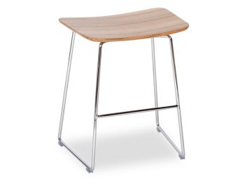 Winnie Low Stool Chrome with Solid European Oak Seat by Glid Studio image
