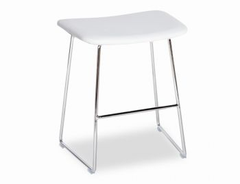 Winnie Low Stool Chrome with White Italian Leather Seat by Glid Studio image