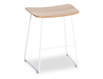 Winnie Low Stool Matte White with Solid European Oak Seat by Glid Studio image