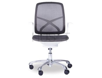 Chilli Chrome ErgoMesh Grey Mesh / White Plastic Ergonomic Office Chair with Low Back by Huset  image