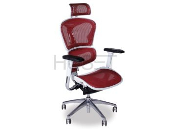 Vytas Chrome ErgoMesh Red Mesh /White Plastic Ergonomic Office Chair with Headrest image