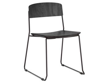 Winnie Matte Black Dining Chair with Black Leather Seat and Black Stained Oak Backrest by Glid Studio image