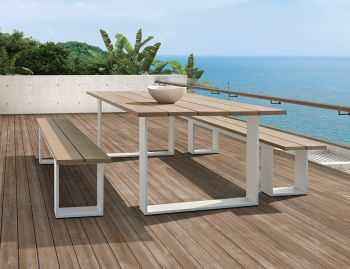 Helios Outdoor Solid Teak Table 220cm x 100cm Matt White Aluminum by Bent Design image