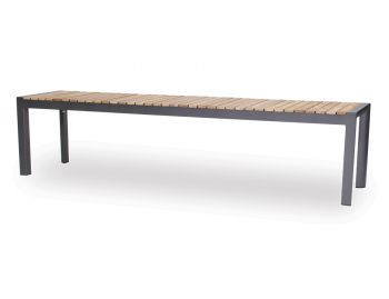 Videl Outdoor Solid Teak Bench Seat Matt Charcoal Aluminum by Bent Design image