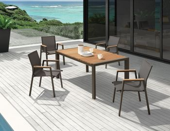 Vydel Outdoor Solid Teak Dining Table 160cm x 100cm Matt Charcoal Aluminum by Bent Design image
