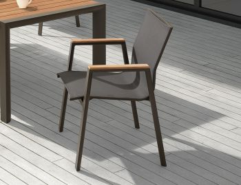 Vydel Outdoor Armchair Matt Charcoal Aluminium with Black Plexus Mesh by Bent Design image