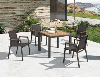 Vydel Outdoor Solid Teak Patio Table 90cm x 90cm Matt Charcoal Aluminum by Bent Design image