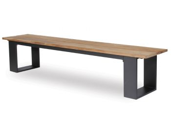 Helios Outdoor Bench Seat 220cm Solid Teak Matt Charcoal Aluminum by Bent Design image
