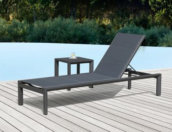 Alvor Sunlounge Matt Charcoal Aluminum with Dark Grey Plexus Mesh by Bent Design Studio image