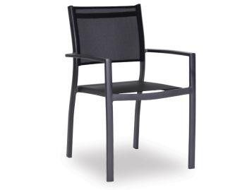 Alvor Outdoor Dining Chair Matt Charcoal Aluminum with Black Plexus Mesh by Bent Design image