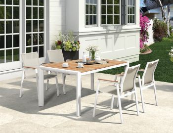 Vydel Outdoor Solid Teak Dining Table 160cm x 100cm Matt White Aluminum by Bent Design image