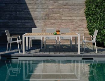 Vydel Outdoor Solid Teak Dining Table 220cm x 100cm Matt White Aluminium by Bent Design image