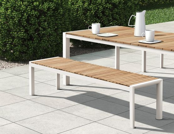 Bench And Table White Teak