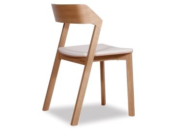 Merano Natural Oak Stackable Dining Chair w White Pad by Alex Gufler for TON image