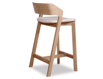 Merano Natural Oak Bar Stool w White Pad by Alex Gufler for TON image
