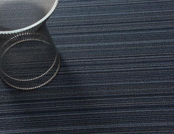 Shag Blue Skinny Stripe In/Outdoor Floor Mat by Chilewich image