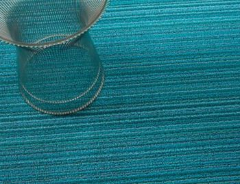 Shag Turquoise Skinny Stripe In/Outdoor Floor Mat by Chilewich image