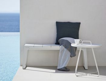 Copenhagen White Outdoor Bench Seat by Strand+Hvass for Cane-Line image
