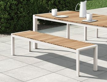 Vydel Outdoor Solid Teak Bench Seat 190cm Matt White Aluminium by Bent Design image