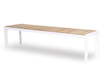 Videl Outdoor Solid Teak Bench Seat Matt White Aluminum by Bent Design image