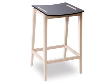 Stockholm Stool Natural Beechwood Legs with Black Stained Seat by Mads Johansen for TON image