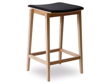 Stockholm Stool Natural European Oak with Black Pad by Mads Johansen for TON image