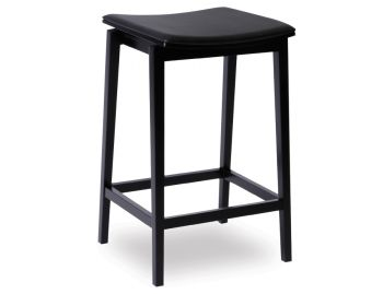 Stockholm Stool Black Stained Beechwood with Black Pad by Mads Johansen for TON image