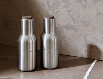 Bottle Grinder Set Brushed Steel - Walnut lid by Norm Architects for Menu image